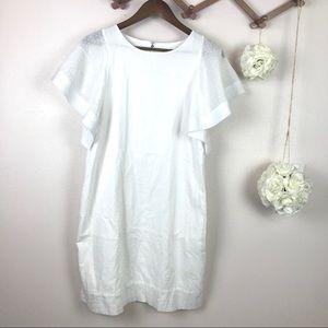 J Crew Ruffle Sleeve White Dress Sz 8